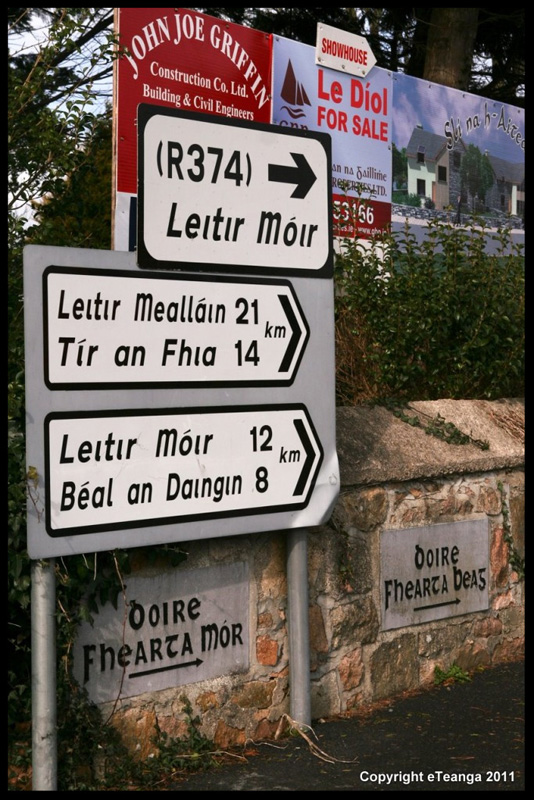 photo of street signs in Irish