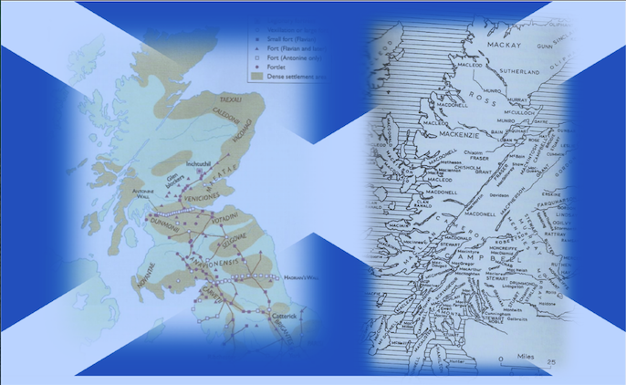 Scottish saltaire flag with two maps of Iron Age and 13th Century Scotland.
